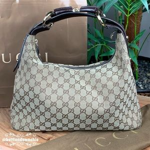 💯% Authentic Gucci Monogram Horsebit Hobo
